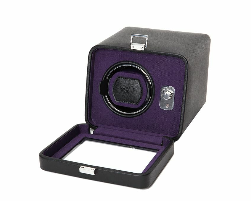 Wolf Single Cub Black And Purple Watch Winder With Cover – 452503