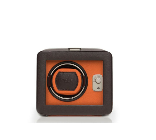 Wolf Single Cub Brown And Orange Watch Winder With Cover – 452506
