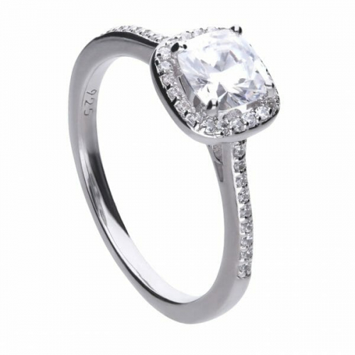 Diamonfire Cushion Cut Pave Surround Ring