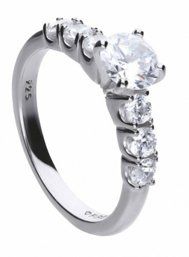 Diamonfire Solitaire And Six Stone Set Ring