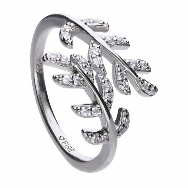 Diamonfire Leaf Cross Over Ring