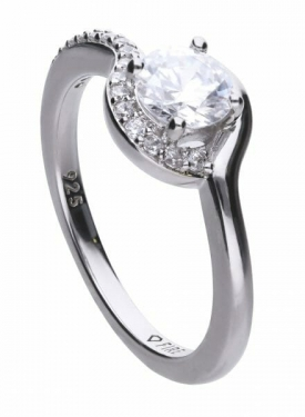Diamonfire Half Pave Solitaire Ring