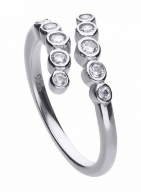 Diamonfire Bezel Set Multi Stone Cross Over Ring