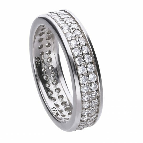 Band ring silver with white zirconia stones and PAVÉ setting