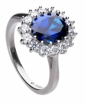 Diamonfire Blue Sapphire Coloured Oval Cluster Ring