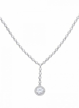 Diamonfire Round Cluster Drop Necklace