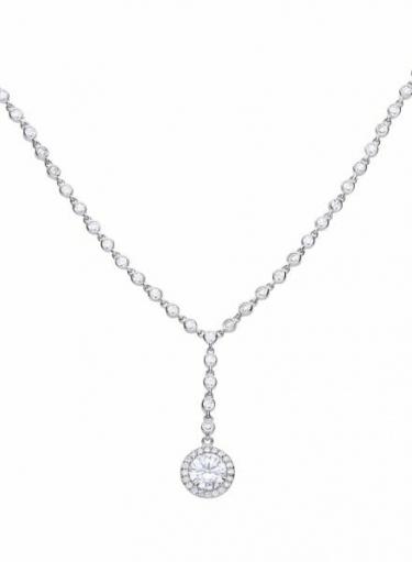 Diamonfire Round Cluster Drop Necklace