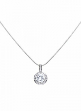 Diamonfire Round Halo Cluster Necklace