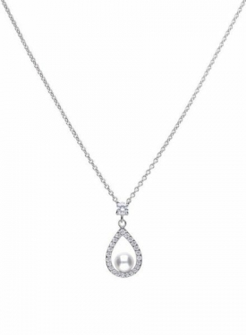 Diamonfire Teardrop Pearl Necklace