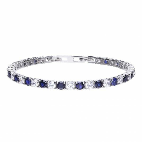 Diamonfire Blue Sapphire Coloured Tennis Bracelet