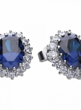 Diamonfire Blue Sapphire Coloured Cluster Stud Earrings