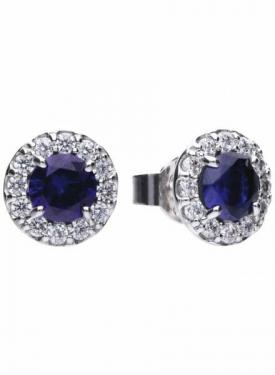 Diamonfire Blue Sapphire Coloured Round Cluster Stud Earrings