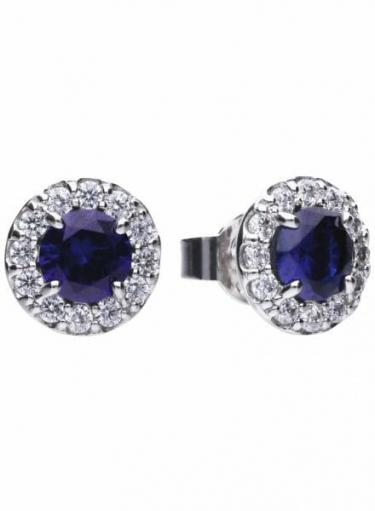 Diamonfire Blue Sapphire Coloured Round Cluster Stud Earrings
