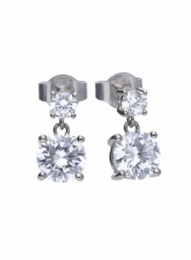 Diamonfire Claw Set Double Drop Stud Earrings
