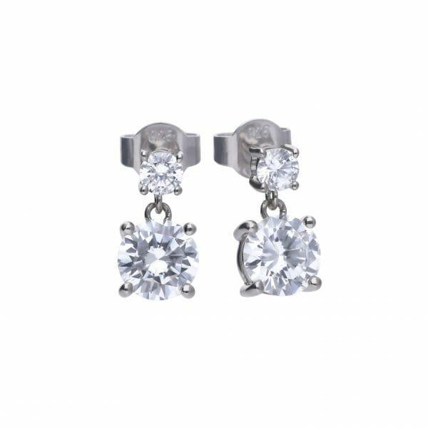 Diamonfire Claw Set Double Drop Stud Earrings