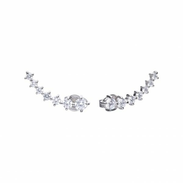 Diamonfire Claw Set Elongated Stud Earrings