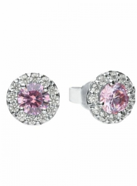 Diamonfire Dusky Pink Cluster Stud Earrings