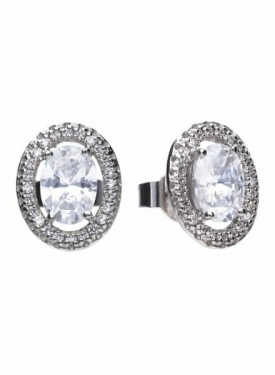 Diamonfire Floating Oval Stud Earrings