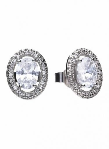 Diamonfire Floating Oval Stud Earrings