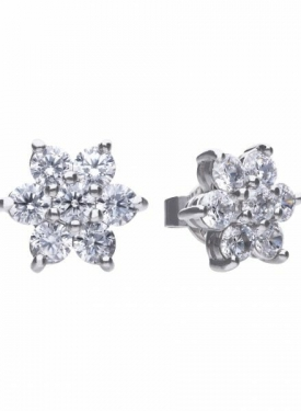 Diamonfire Flower Cluster Stud Earrings