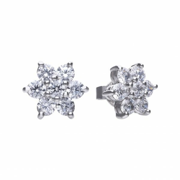 Diamonfire Flower Cluster Stud Earrings