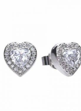 Diamonfire Cluster Heart Stud Earrings