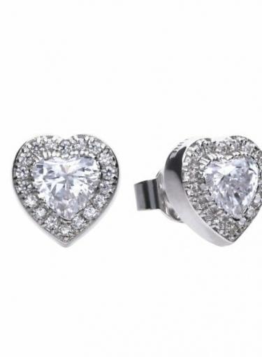 Diamonfire Cluster Heart Stud Earrings