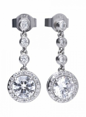 Diamonfire Round Cluster Drop Earrings