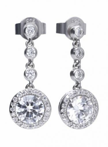 Diamonfire Round Cluster Drop Earrings