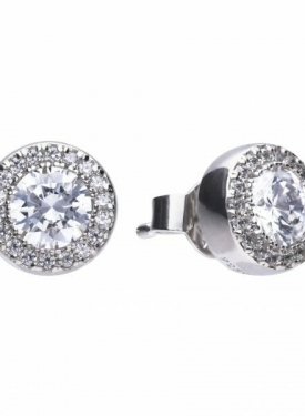 Diamonfire Round Halo Stud Earrings