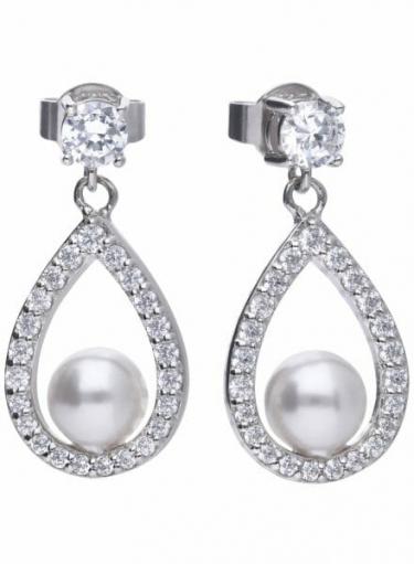 Diamonfire Teardrop Pearl Earrings