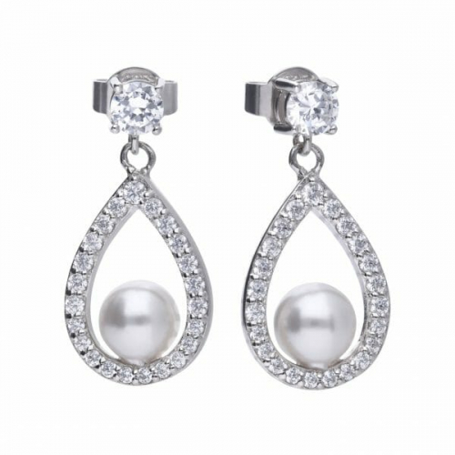 Diamonfire Teardrop Pearl Earrings