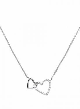 Diamonfire Double Heart Silver Necklace