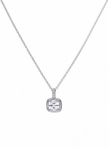 Diamonfire Square Halo Cluster Necklace