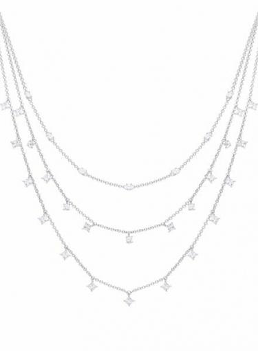 Diamonfire Triple Row Drop Necklace