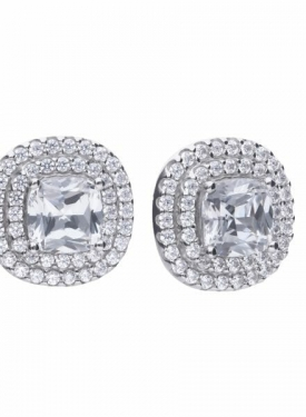 Diamonfire Double Halo Cushion Cluster Stud Earrings