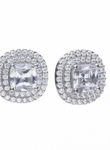 Diamonfire Double Halo Cushion Cluster Stud Earrings
