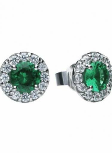 Diamonfire Green Emerald Colour Round Cluster Stud Earrings