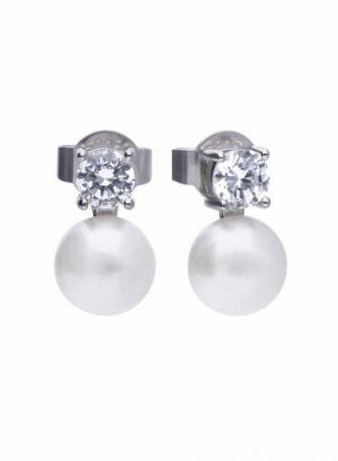 Diamonfire Pearl Stud Earrings