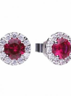Diamonfire Red Ruby Coloured Cluster Stud Earrings