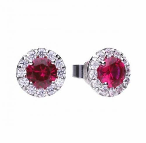 Diamonfire Red Ruby Coloured Cluster Stud Earrings