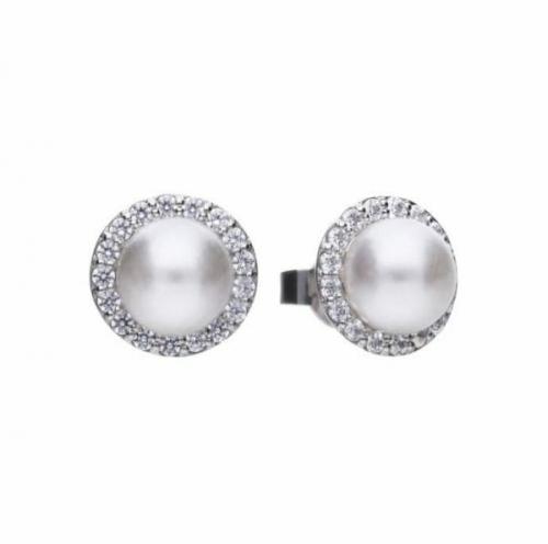 Diamonfire Round Pearl Halo Earrings