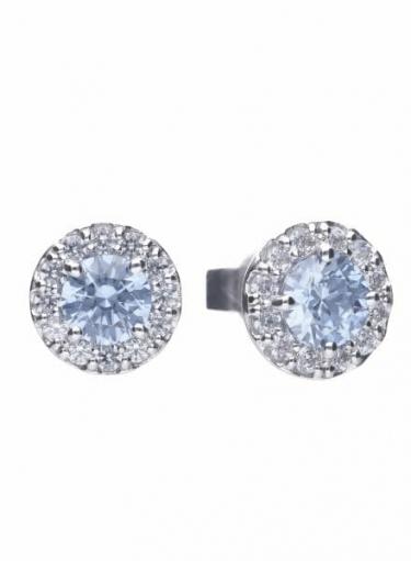 Diamonfire Sky Blue Round Cluster Earrings