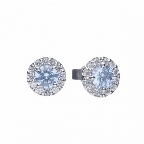 Diamonfire Sky Blue Round Cluster Earrings