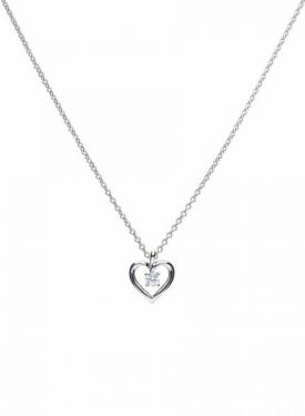 Diamonfire Solitaire Open Heart Necklace