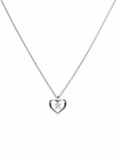 Diamonfire Solitaire Open Heart Necklace