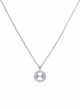 Diamonfire Round Pearl Cluster Necklace