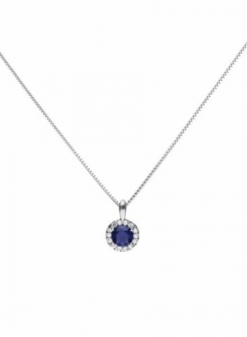 Diamonfire Blue Sapphire Coloured Round Cluster Pendant
