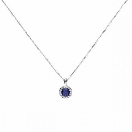 Diamonfire Blue Sapphire Coloured Round Cluster Pendant