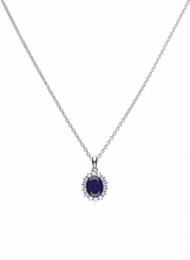 Diamonfire Blue Sapphire Coloured Oval Cluster Pendant
